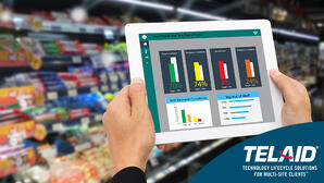 iPad displaying analytics in grocery store